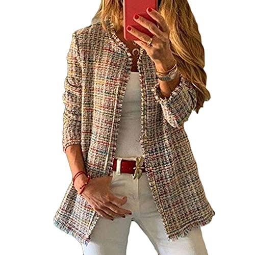 Blazer Cuadros Mujer Chaqueta de Traje Corte Slim Fit Elegante Casual Oficina...