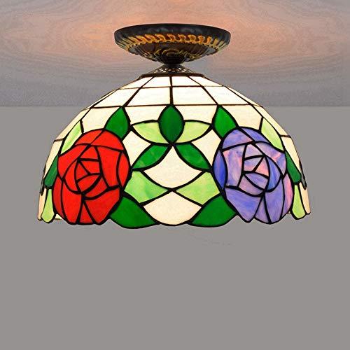 BBYT Lámpara de Techo Lámpara 30 cm Rosa Vidrio de Techo Ligero de Techo Simple Restaurante clásico Dormitorio Pasillo Pasillo Corredor de Techo luz de Techo