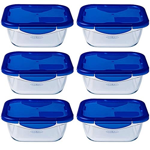 Pyrex Easy Wash Cook & Go Square Container with Lid Large 0.8 Litre Blue (Pack of 6)