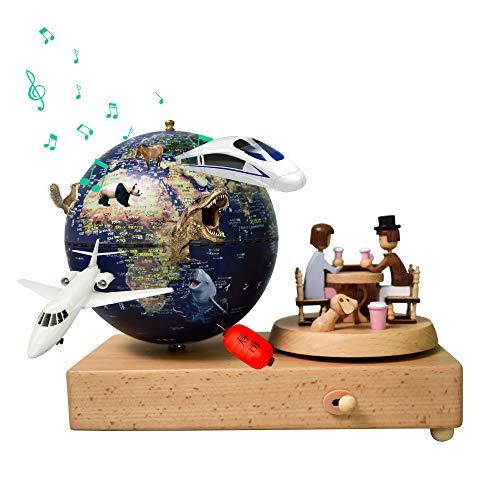 地球儀 子供 しゃべる地球儀 日本語 球径13cm 3Dで学べる 4WAY「出会い」オルゴール 人形台座が回転 LEDライト付き 知育玩具 ベッドサイドランプ 地勢タイプ 真珠フィルム ムーディー 防水性 先生おすすめ 新入学のお祝いに プレゼント(blu