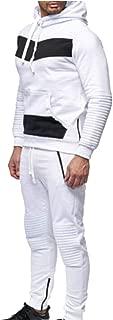 Maweisong Men's Winter Hooded Sweatshirt Top Pants Sets Sports Suit Tracksuit