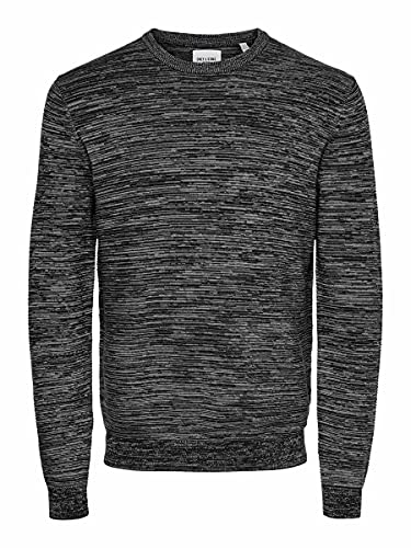 Only & Sons ONSNATHAN 12 Multi STRUC Crew Neck Knit Suéter, Negro, S para Hombre