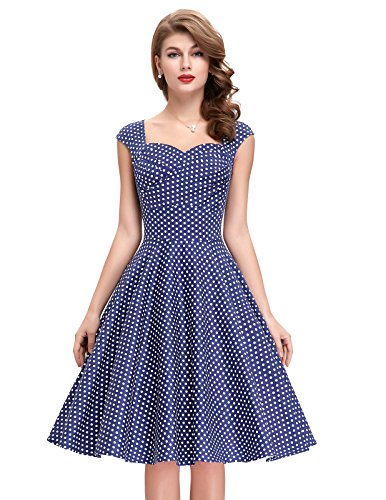 Sleeveless 1950s Cocktail Dresses Sweetheart Neck (Polka Dot-5, L) BP105-5