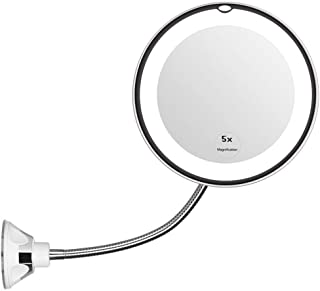 """Flexible Gooseneck 6.8"""" LED Lighted Wall Mounted Makeup Mirror,Bathroom Magnification Vanity Mirror with Suction Cups, Travel Mirror with 360 Degree Swivel,Battery Operated,5X"""