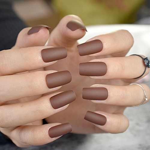 CoolNail Matte Coffee Brown Square Head False Nails Middle-long Full Cover Chocolate Fake Nail Acrylic Nail Tips Finger Art