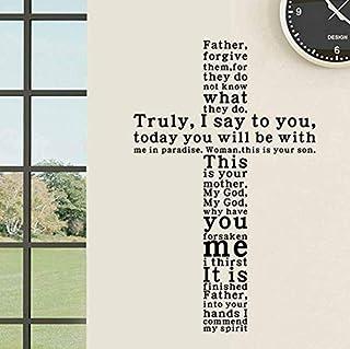 Hkkhkk Jesus Christ Truly I Say To You English Text Vinyl Removible Etiqueta De La Pared Tatuajes De La Decoración Del Hogar Iglesia Arte De La Pared Decoración 93X59Cm