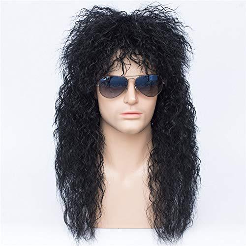 Peluca de Cosplay rizada larga Kinly para hombre, pelo negro sinttico para fiesta de Halloween, peluca de disfraz + gorro de peluca