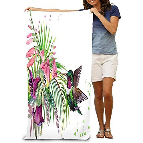 Yocmre Grote strandhanddoek, jungle, plant, vogel, bloemen, colibri, regen, bos, aquarel, tropisch, natuur, exotische bloemen paradijs vintage