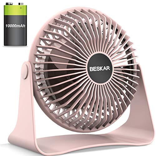BESKAR 10000mAh Rechargeable Battery Operated Small Table Fan, 2020 New 6-Inch Personal Quiet Fan with 36Hrs Long Working Time, 3 Speeds & Strong Airflow, Mini USB Desk Fan for Office Bedroom Home