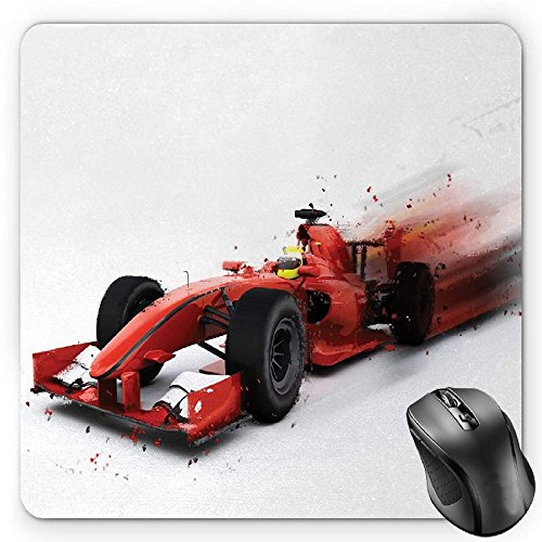 BGLKCS Cars Mouse Pad by, Generic Formula 1 Racing Car Illustration with Special Effect Turbo Motion Auto Print, Standard Size Rectangle Non-Slip Rubber Mousepad, Red Black