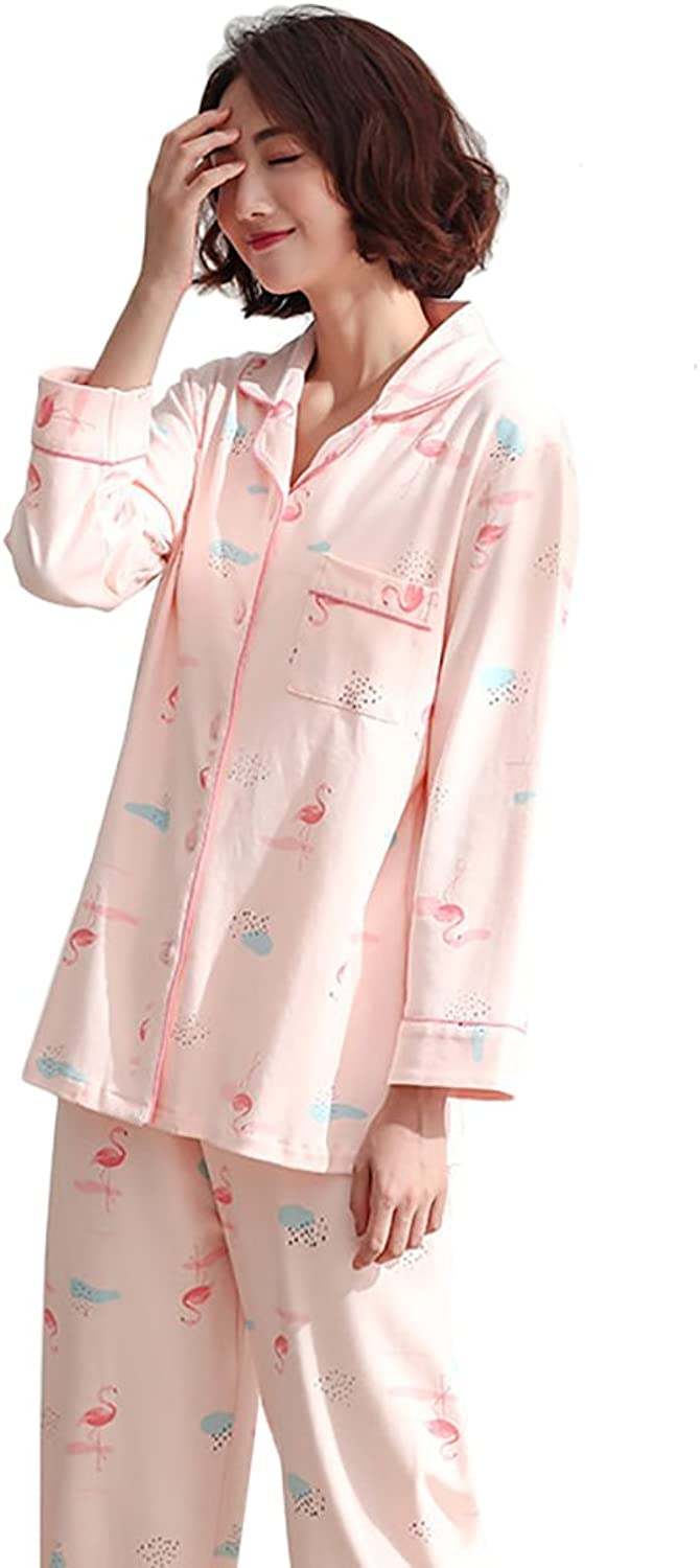 Women Long Sleeve Pure Cotton Pajamas Soft Cute Cartoon Home Clothing (color   Pink, Size   M)