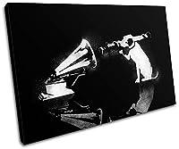 Bold Bloc Design - HMV Dog Banksy Hi Res シングルキャンバスアートプリントボックス フレーム入りピクチャーウォールハンギング - 英国で手作り - 額入りですぐに掛けられます (F) 135x90cm 13-0955(00B)-SG32-LO-F