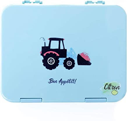 Citron Kids Leak Proof Bento Lunch Box, 6 Compartments, Baby Blue With Tractor
