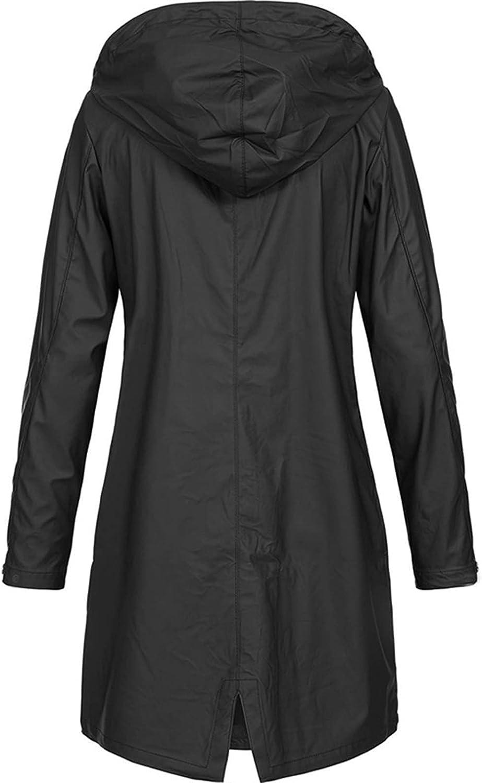 Rain Coats for Women Waterproof Lightweight Hooded Jackets Solid Zip Up Casual Long Windbreaker Tops Plus Size Sweatshirts (5X-Large, A1~Black)