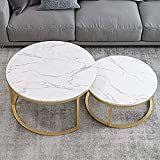 GTFHUH Modern Set of 2 Nesting Coffee Tables, Leisure Side End Table with Side Sofa, Round Marble table top with stainless steel frame for Living Room or Lounge(White)