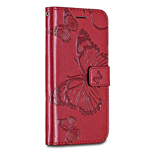Sony Xperia C6 / XA Ultra Case Cover, Casake [High Quality Pu Leather] [Card/ID Holder] [Wallet Flip Case] [Drop Proof] For Sony Xperia C6 / XA Ultra Case -Red