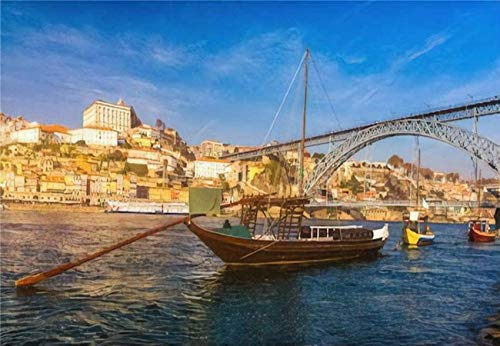 Rompecabezas de barcos de vino de Oporto en el paseo marítimo con el puente Dom Luis y el viejo para niños, adultos, juego educativo, rompecabezas, juguetes, bricolaje, 500 piezas 52 * 38 cm