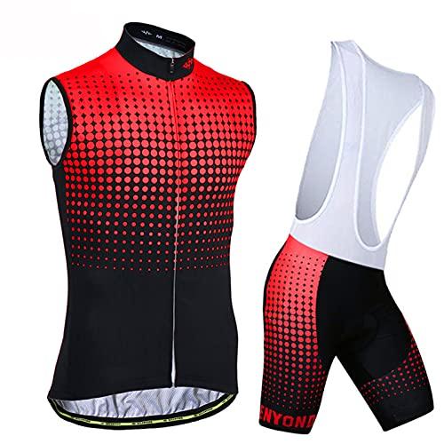 Conjunto de Maillot de Ciclismo para Hombre, Sin Manga + 3D Acolchado Pantalones Cortos Babero Mangas Cortas de Bicicleta Transpirable de Secado Rápido 3 Bolsillos, L-1,E11,M