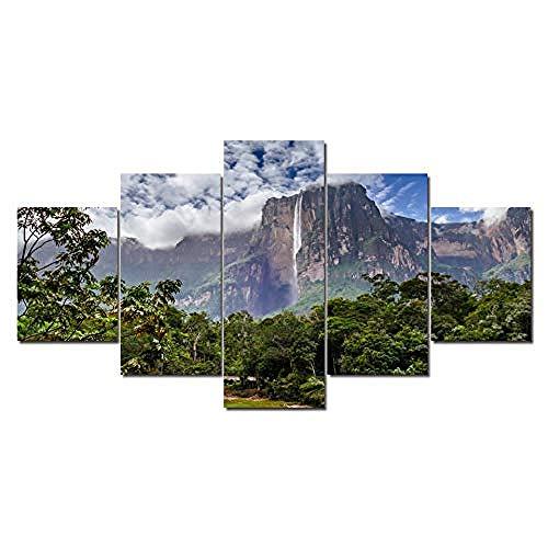 LIVELJ Salto Angel, Parque Nacional Canaima, Venezuela 5 Unids Premium Canvas Art Pinturas Colgantes de Pared Decoración Moderna Obra de Arte Obsequios/Cuadro Tamaño: (H-80 cm x M/B-150 cm)