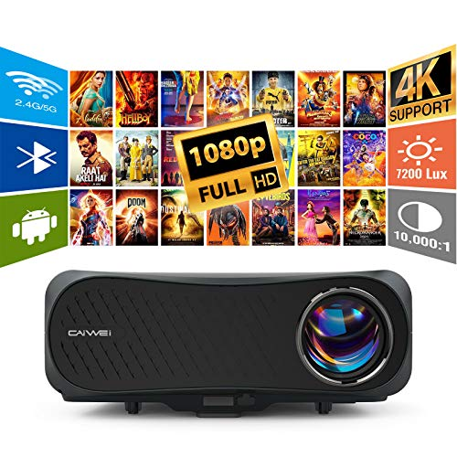 Full HD Projector 4K Supported Wireless WiFi Bluetooth Android Screen Mirror Zoom,7200 Lumen LED Indoor Outdoor Theater 1920x1080 Video Projector for Laptop Game Console TV Box PS5 Wii Tablet DVD