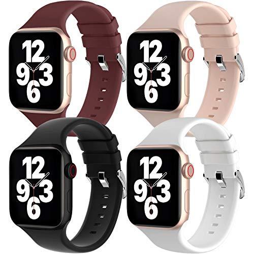 Fengyiyuda 4 Stück Silikon Armband Kompatibel mit Apple Watch Armband, Silikon Ersatz Sportarmband Loop mit Buckle Kompatible mit iWatch Series SE/6/5/4/3/2/1,Wein Rot/Rosa Sand/Schwarz/Weiß,38/40mm