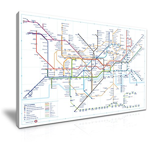 Londen Tube Kaart 2016 Stretched Canvas Wall Art Picture Print 76x50cm