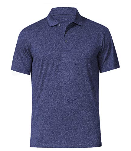 Men's Athletic Golf Polo Shirts, Dry Fit Short Sleeve Workout Shirt, Dark Blue M