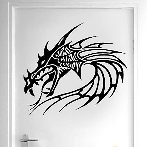 YHZSML Diseño Creativo Cabeza de dragón Etiqueta de la Pared Vinilo Decoración del hogar Habitación Decoración de la Ventana Animal Mural Tatuaje extraíble Puerta Etiqueta 2 42x38cm