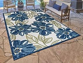 Gertmenian Indoor Outdoor Rug Outside Patio Textural Carpet, 5.25x7 Standard, Leaf Flower Navy Blue