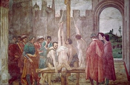 Crucifixion of St Peter by Masaccio from Life of St Peter cycle fresco 1425-28 (1401-1428) Italy Florence Santa Maria del Carmine Brancacci Chapel Poster Print (24 x 36)
