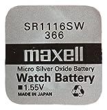 Maxell One (1) X 366SR1116W óxido de Plata Pila de Reloj, 1,55V