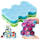 Ice Cube Tray, Chrider 2 Pack Silicone Ice Cube Trays With Lid Flexible 26-Ice Tray for Whiskey & Cocktails, Stackable Safe Ice Trays