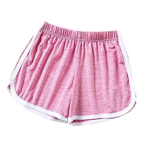 DUTIS Pantalones cortos de yoga y golf para mujer, pantalones cortos de poliéster sueltos, cintura elástica, amplios, sueltos, con bolsillos, hot pink, L