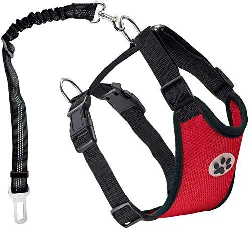Extensor de cinturón de Seguridad para Perros Ajustable, Correa con Conector de vehículo. Chaleco de Tela de Malla Doble Transpirable