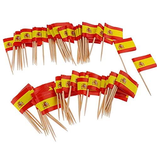 NIDONE 100 stücke Einweg Zahnstocher Flagge Dekoration & Papier Spanien Flagge Picks Mini Frucht Cocktail Essen Zahnstocher Sticks Flagge