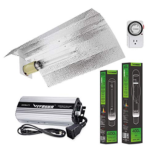 VIVOSUN Hydroponic 400 Watt HPS MH Grow Light Wing Reflector Kit - Easy to Set up, High Stability & Compatibility (Enhanced Version)