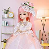 UCanaan BJD Doll, 1/4 SD Dolls 18 Inch 18 Ball Jointed Doll DIY Toys with Full Set Clothes Shoes Wig Makeup, Best Gift for Girls-Diana