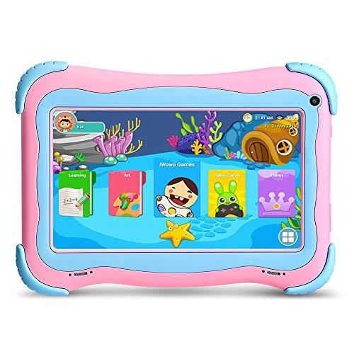 YUNTAB 7 Pollici Tablet per Bambini Android 8.1, CPU Quad Core, 1 GB RAM + 16 GB ROM,Touch Screen IPS,WiFi,Certificazione GMS,con l'applicazione iwawa preinstallata(Rosa)