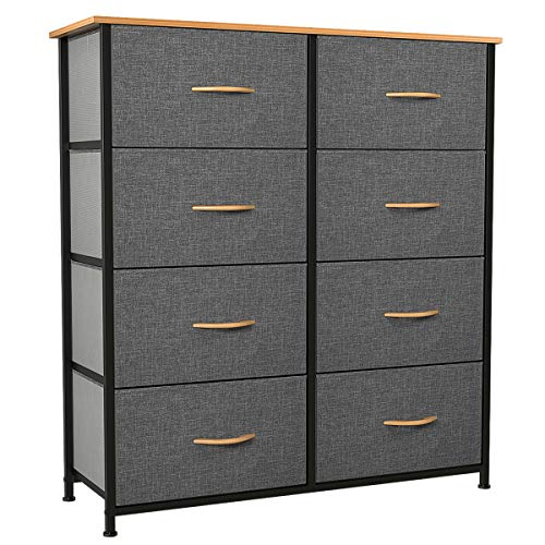 YITAHOME Dresser with 8 Drawers - Fabric Storage Tower, Organizer Unit for Bedroom, Living Room, Hallway, Closets & Nursery - Sturdy Steel Frame, Wooden Top & Easy Pull Fabric Bins (Cool Grey)