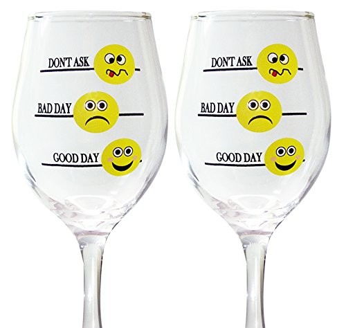 BANBERRY DESIGNS Lustiges Weinglas Set – Good Day Bad Day Don't Ask – Set von 2 Emoji-Weingläsern – Weingläser mit Sprüchen