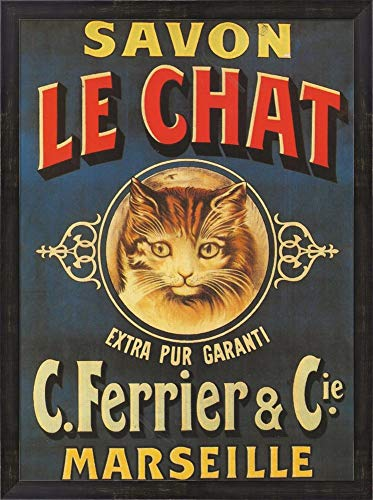 Savon Le Chat by Vintage Apple Collection Framed Art Print Wall Picture, Espresso Brown Frame, 24 x 32 inches