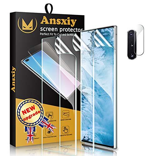 Lot de 3 films de protection d'écran en polyuréthane thermoplastique pour Samsung Galaxy Note 10 Plus + protection d'objectif d'appareil photo, compatible avec coque, sans bulles, HD transparent, film en TPU souple avec capteur d'empreintes digitales pour Samsung Galaxy Note 10 Plus