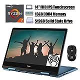 Flagship 2020 Dell Inspiron 14 5000 2 in 1 Laptop, 14'' FHD IPS Touchscreen, AMD Quad-Core Ryzen 7 3700U (Beat i7-7500U), 16GB DDR4 512GB SSD, Backlit KB FP Win 10 (Blue) + ePark Wireless Mouse