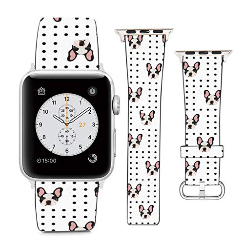 Compatible with Apple Watch Wristband 42mm 44mm, (French Bulldog On Polka Dots Background) PU Leather Band Replacement Strap for iWatch Series 5 4 3 2 1