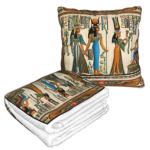 Lsjuee Manta egipcia 2 en 1, Almohada de Viaje Ligera y Duradera