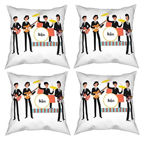 Sunzhenyu Beatles Music Pillow Covers Set of 4, Decorative Throw Pillow Covers 16x16, Square Cushion Covers, Cushion Cover for Couch Sofa Living Room