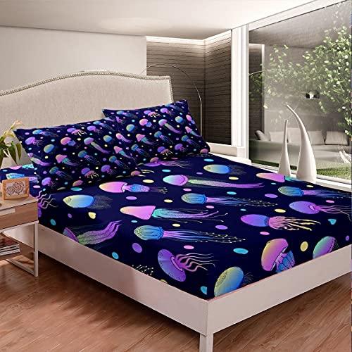 Juego de sábanas de medusas para niños, niñas, degradado de mar subacuático, juego de ropa de cama con 2 fundas de almohada de 3 piezas