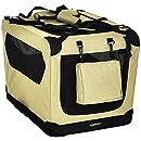 AmazonBasics - Hochwertige Haustier-Transportbox, faltbar, weich - 66 cm, KHAKI