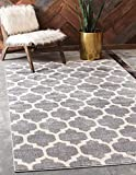 Unique Loom Trellis Collection Modern Morroccan Inspired with Lattice Design Area Rug, 6' x 9', Gray/Beige