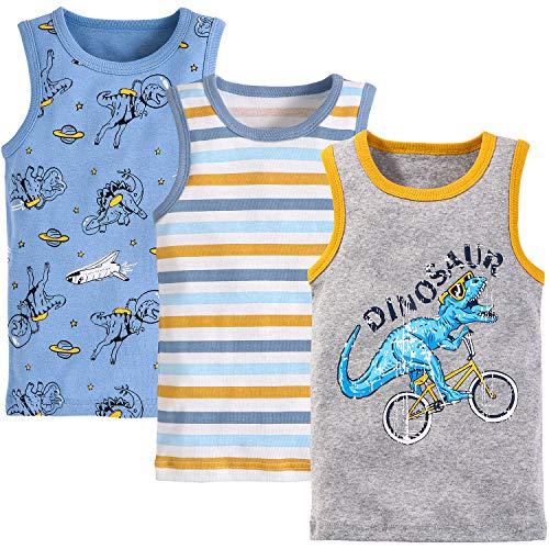 Adorel Camiseta sin Mangas Algodón para Niños Paquete de 3 Ciclista & Astronauta 18-24 Meses (Tamaño del Fabricante 100)